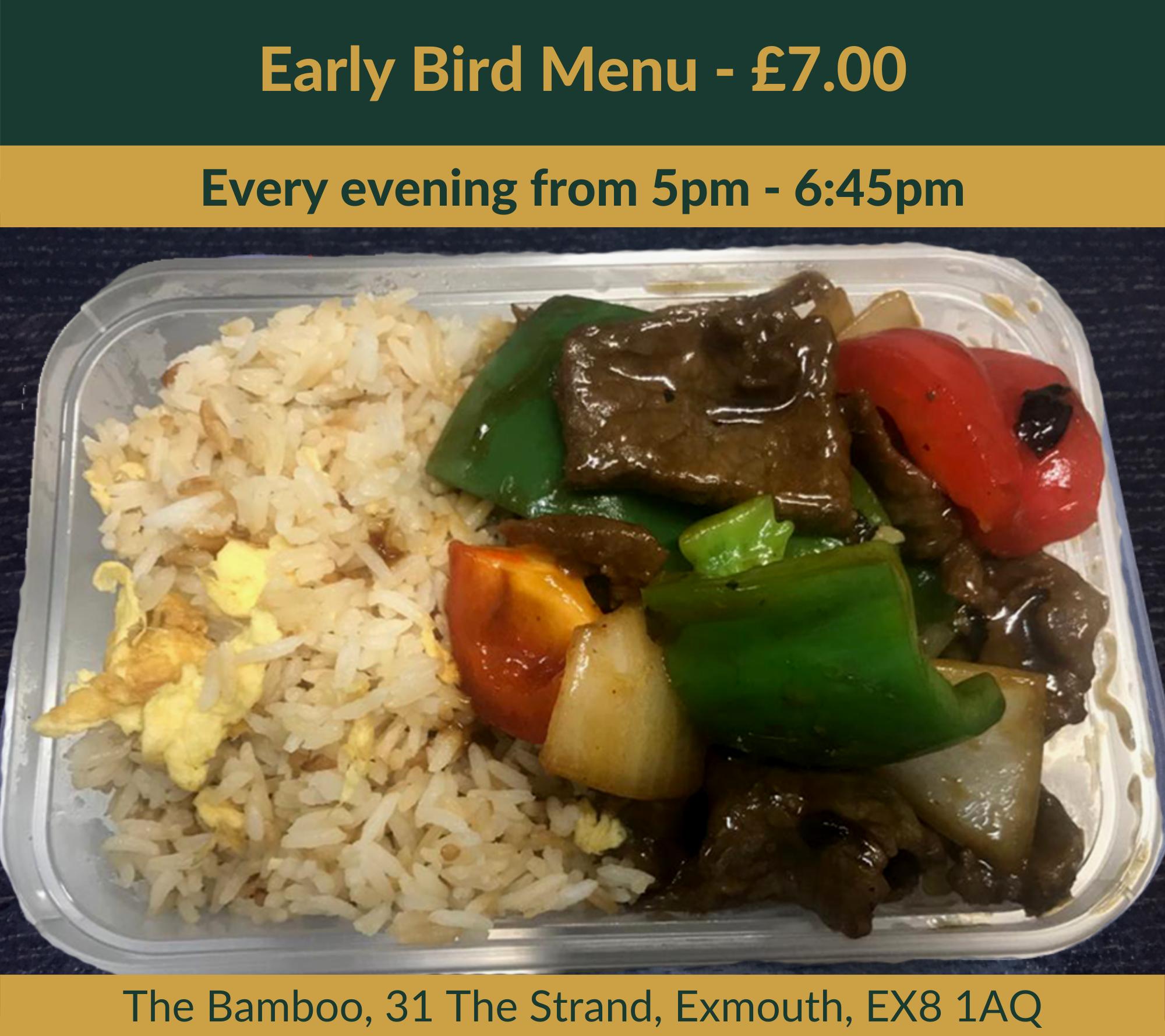 The Bamboo Exmouth - Early Bird Menu Black Bean