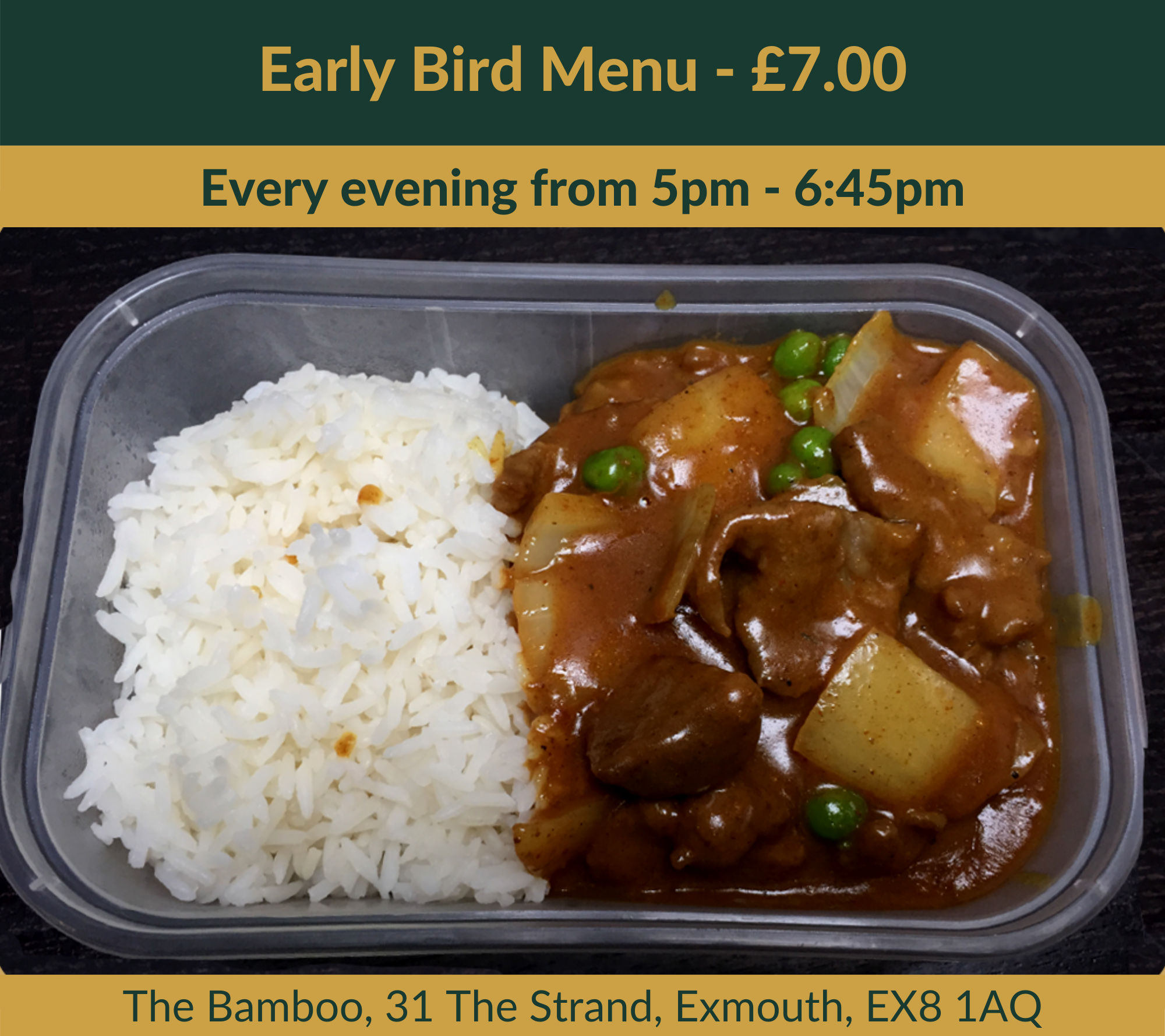 The Bamboo Exmouth - Early Bird Menu Curry
